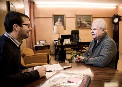Con el pianista Emanuel Ax, durante una entrevista para Codalario. Fotografía de Fernando Frade, reproducida con permiso expreso del autor y de la revista Codalario.